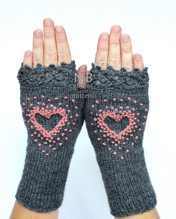Gestrickte fingerlose Handschuhe, Handschuhe & Fäustlinge ...