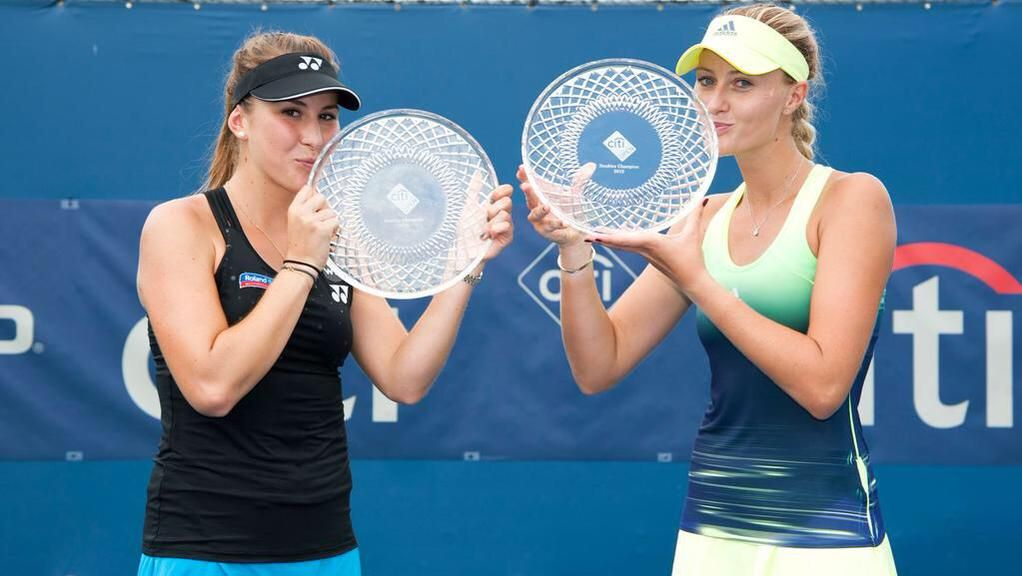 8/8/15 B.B. & Kiki - Our 2015 #CitiOpen Doubles Champions!   .... Via Kristina Mladenovic:   Struggling w/ our posing but look.. Not too bad isn't it #BelindaBencic ?! great& fun week thanks #CitiOpen