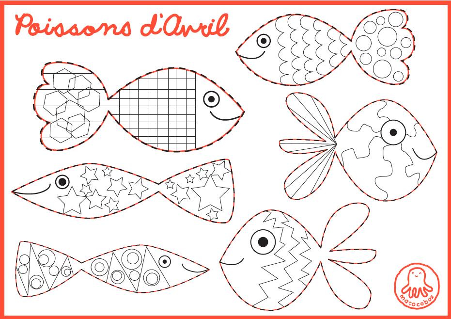 Free printable for kids, poissons d'avril, enfants ...
