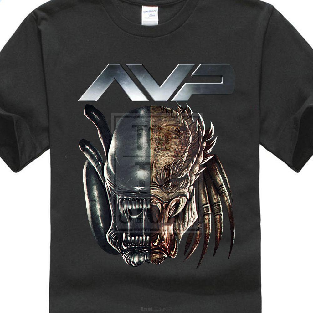 f82e3587f5 fashion design Alien Vs Predator Head Custom wydrukowano męska T Shirt  Hipster Topy Dostosuj drukowane koszulki