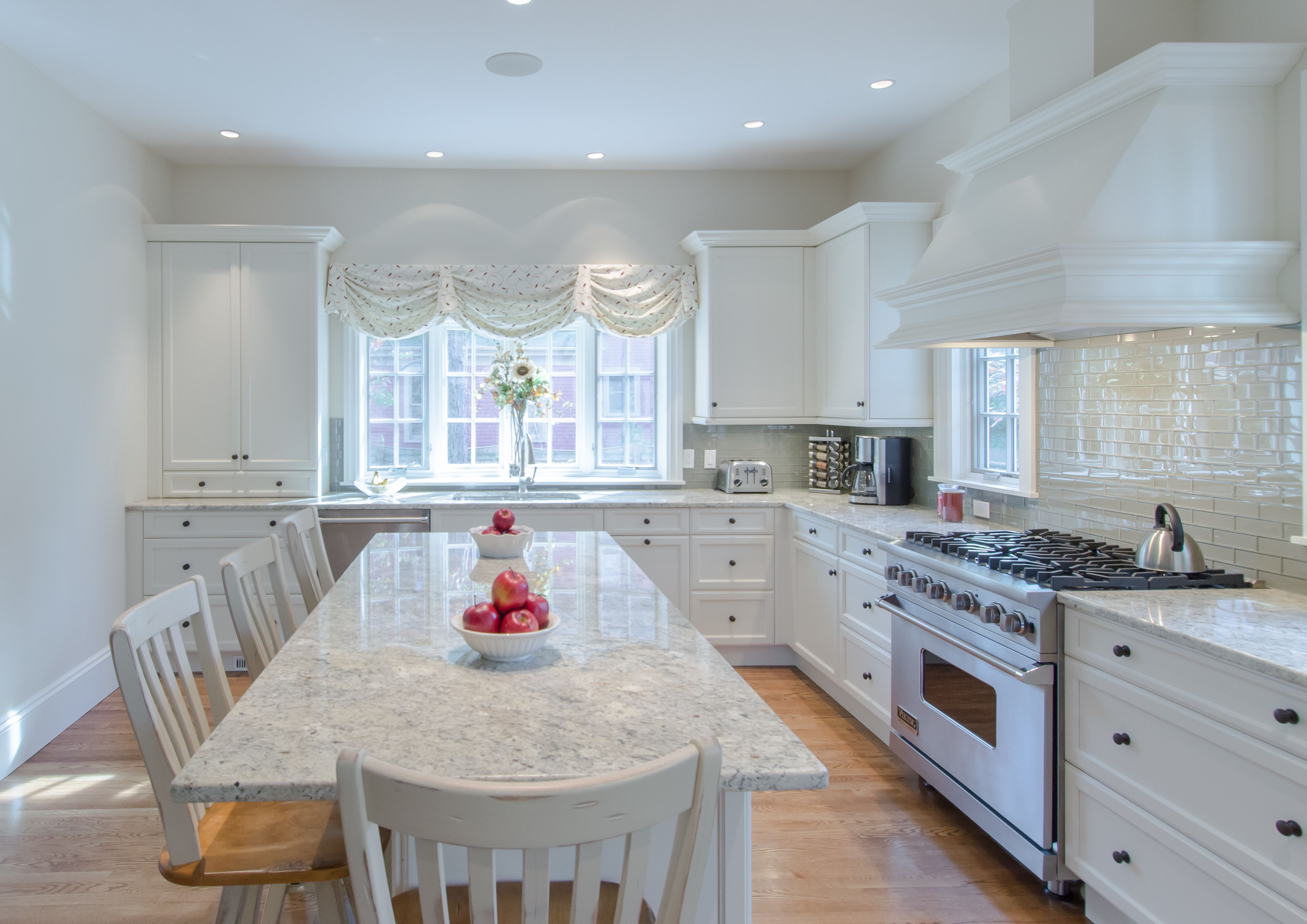 Painted Kitchen - White painted cabinetry, granite countertop ...