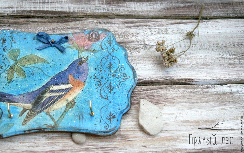 Купить Ключница синяя с птичкой - бирюзовый, ключница, панно, панно настенное, ключница настенная, плоская