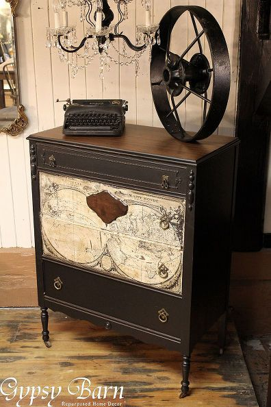 Repurposing dresser with decoupage map decoupage dresser for Furniture upcycling