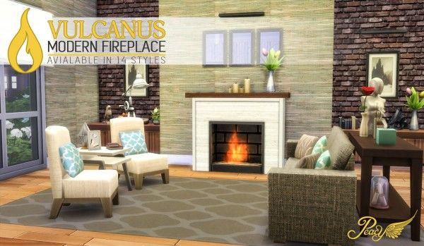 Simsational designs: Vulcanus Modern Fireplace • Sims 4 Downloads