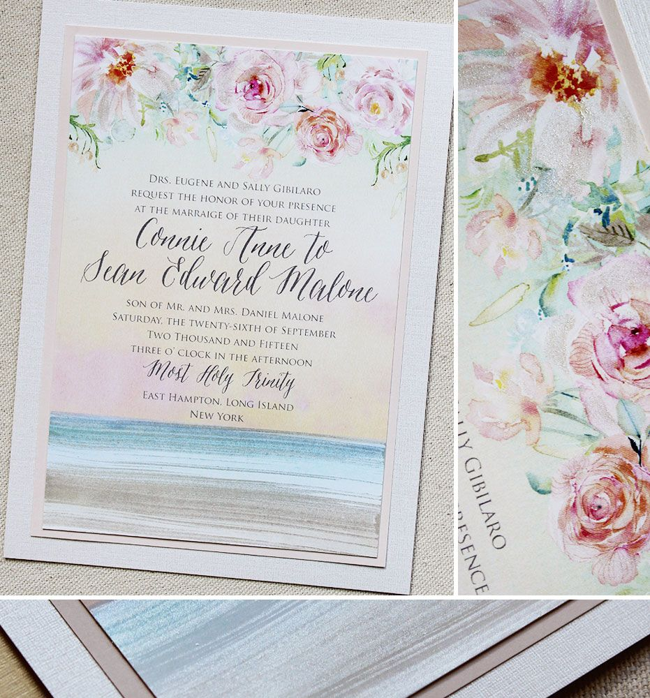 Connie G Elegant Watercolor Beach Wedding Invitations Beach