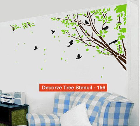 Tree And Birds Stencil Customize Design