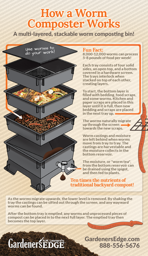 Gardening Tips How worm composting works! A Worm Compost Bin accelerates the composting process through activity by the worms, and it is easy to manage  The Worm Factory is designed to support all of the benefits or worm composting!     GardenersEdge com is part of Worm composting -