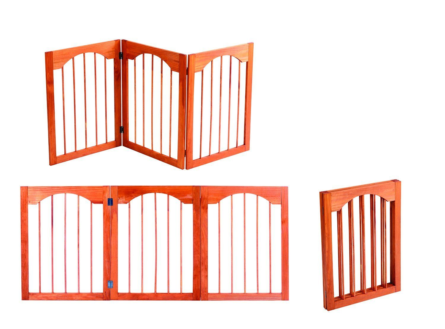 52 5 Indoor Outdoor Arch Design Adjule Free Standing Solid Wood 3 Panel Folding Pet Gate Insider S Special Review You Can T Miss