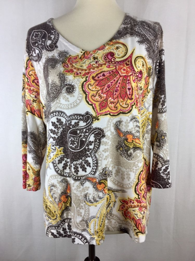 3c02e005d9 Chicos Womens 2 Large Top Red Yellow Brown White Paisley V Neck Tee Shirt   Chicos  TShirt  Medallion  Paisleh