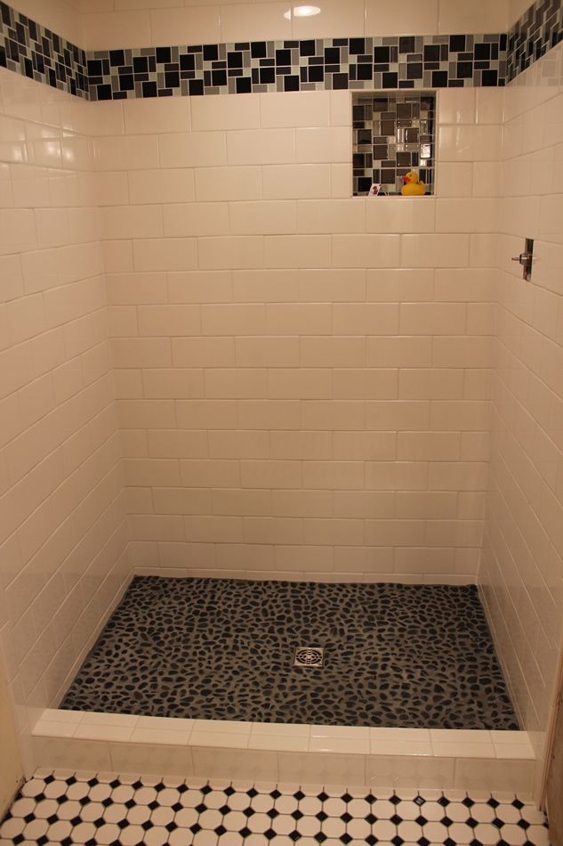 River Rock Tile Shower Floor The Bathroom Floor Is 2 Inch Hexagon Tiles With A Small