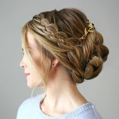 Twisted Updo With A Side Strand Braid #Hairstyles