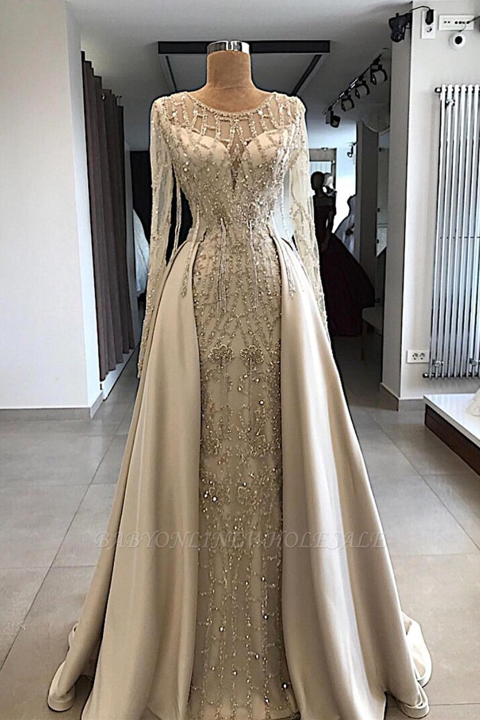 Shining Beaded Long Sleeves Round Neck Prom Dresses With Over Skirt A Line Evening Gowns Long Sleeve Bridal Gown Sparkly Prom Dresses Champagne Prom Dress [ 1472 x 981 Pixel ]