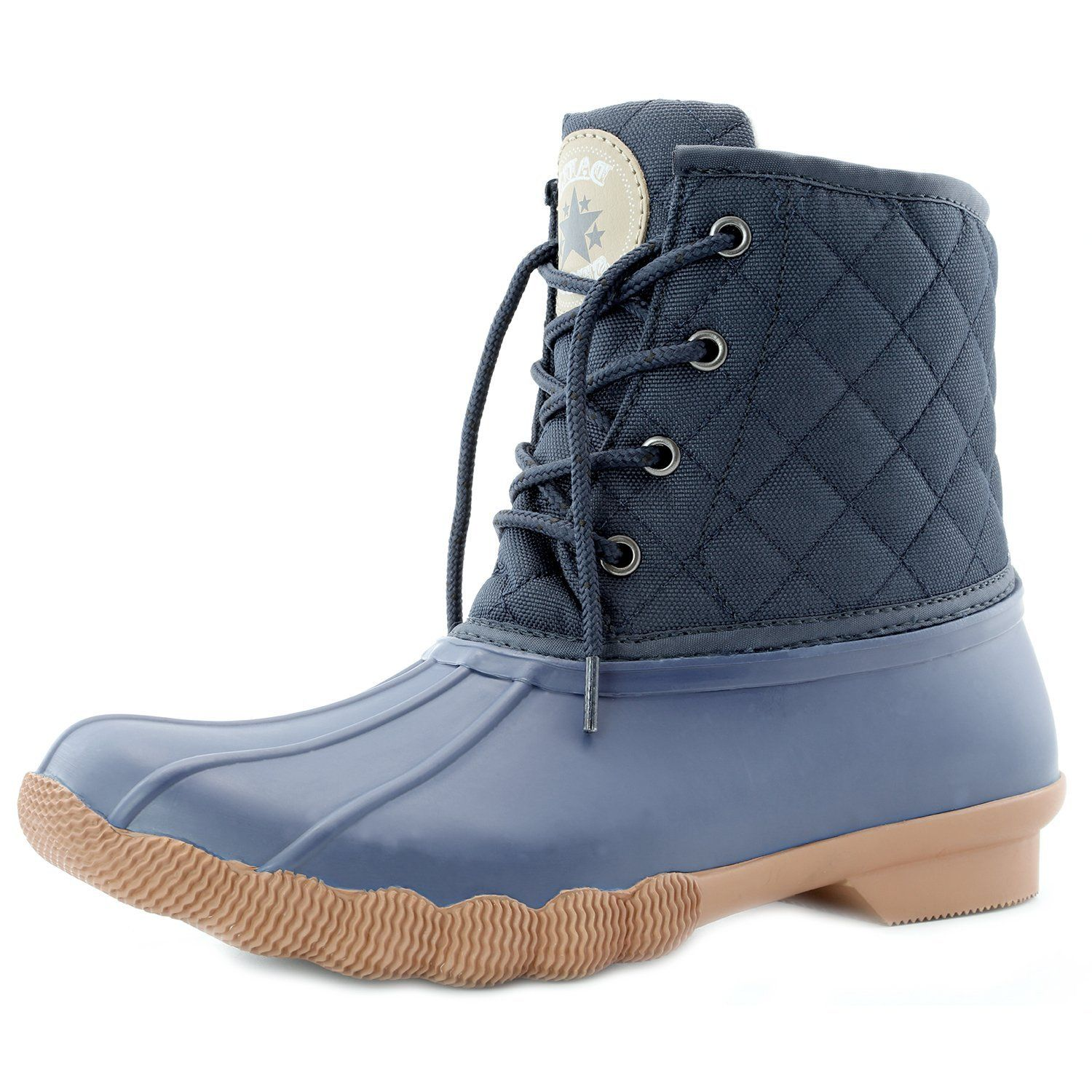 Women's Ankle High Duck Snow Booties Up Quilted Padded Rain Mud Rubber Waterproof Boots