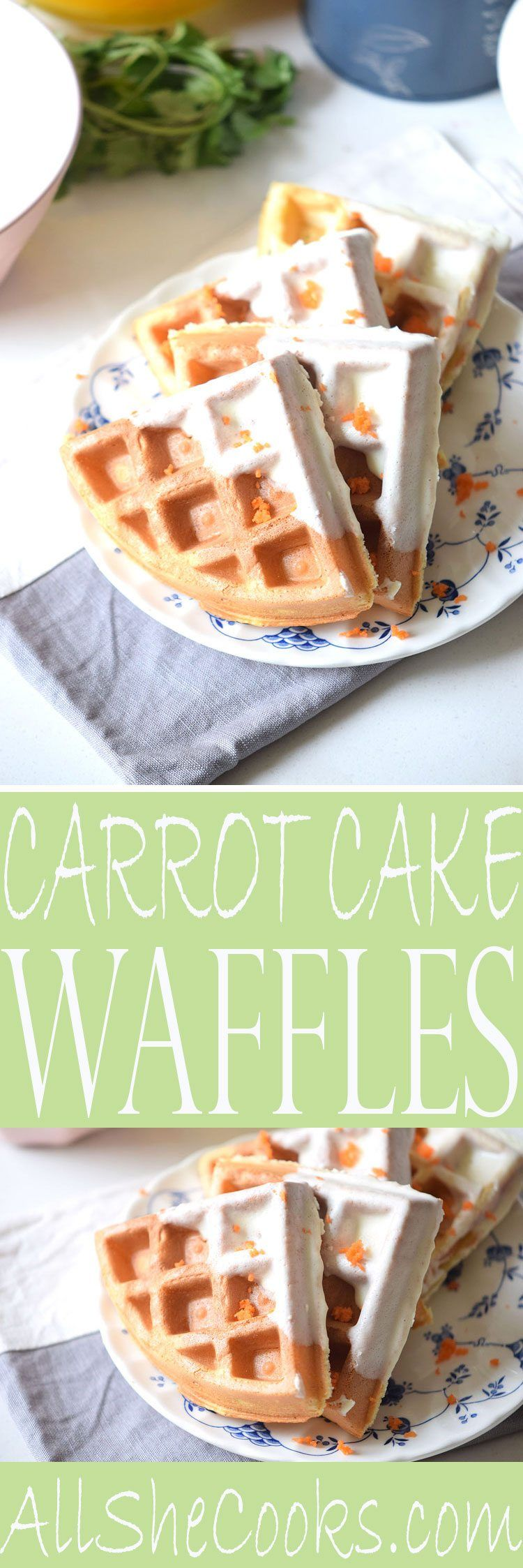 Carrot Cake Waffles - try this easy waffle recipe for breakfast this weekend. Quick and easy recipe.