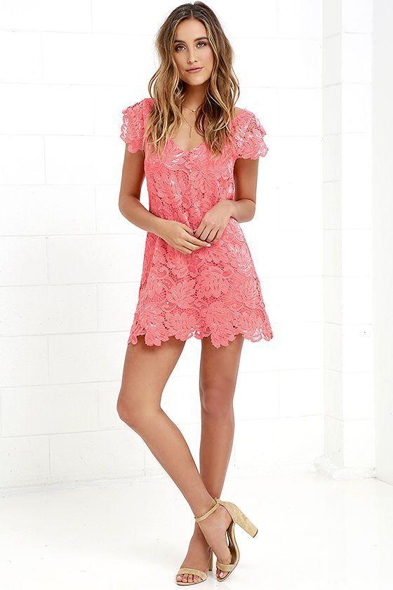 Bb Dakota Jacqueline Coral Pink Lace Shift Dress Fashion