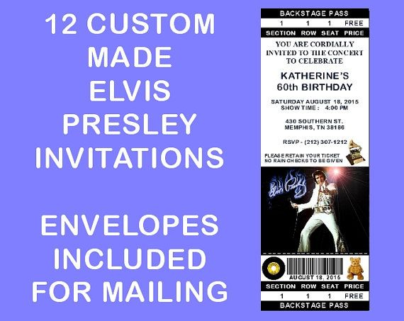 12 Personalized Elvis Presley Party Invitations Birthday Wedding