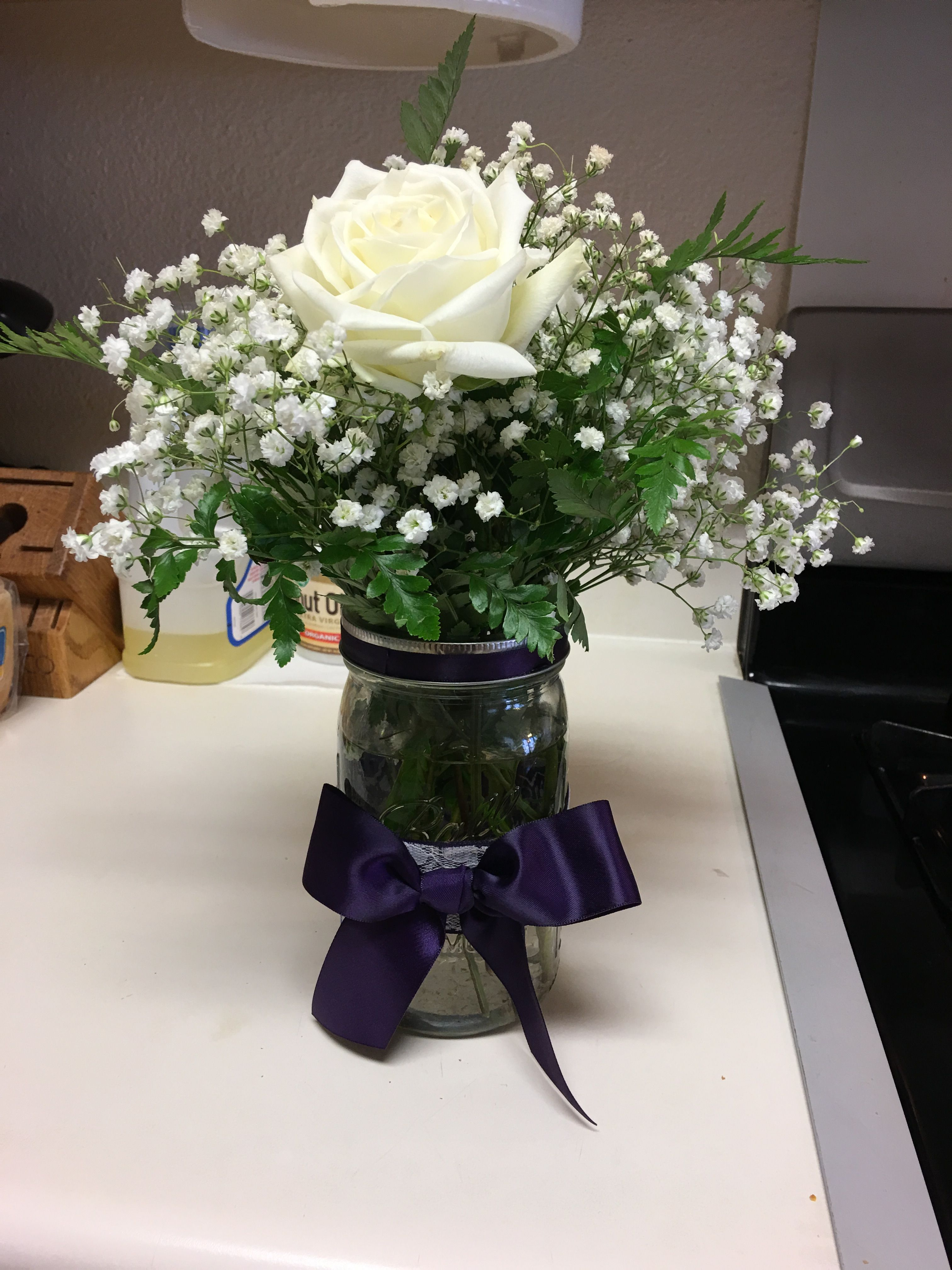 Mason Jar Centerpieces 2 White Roses And Baby Breath