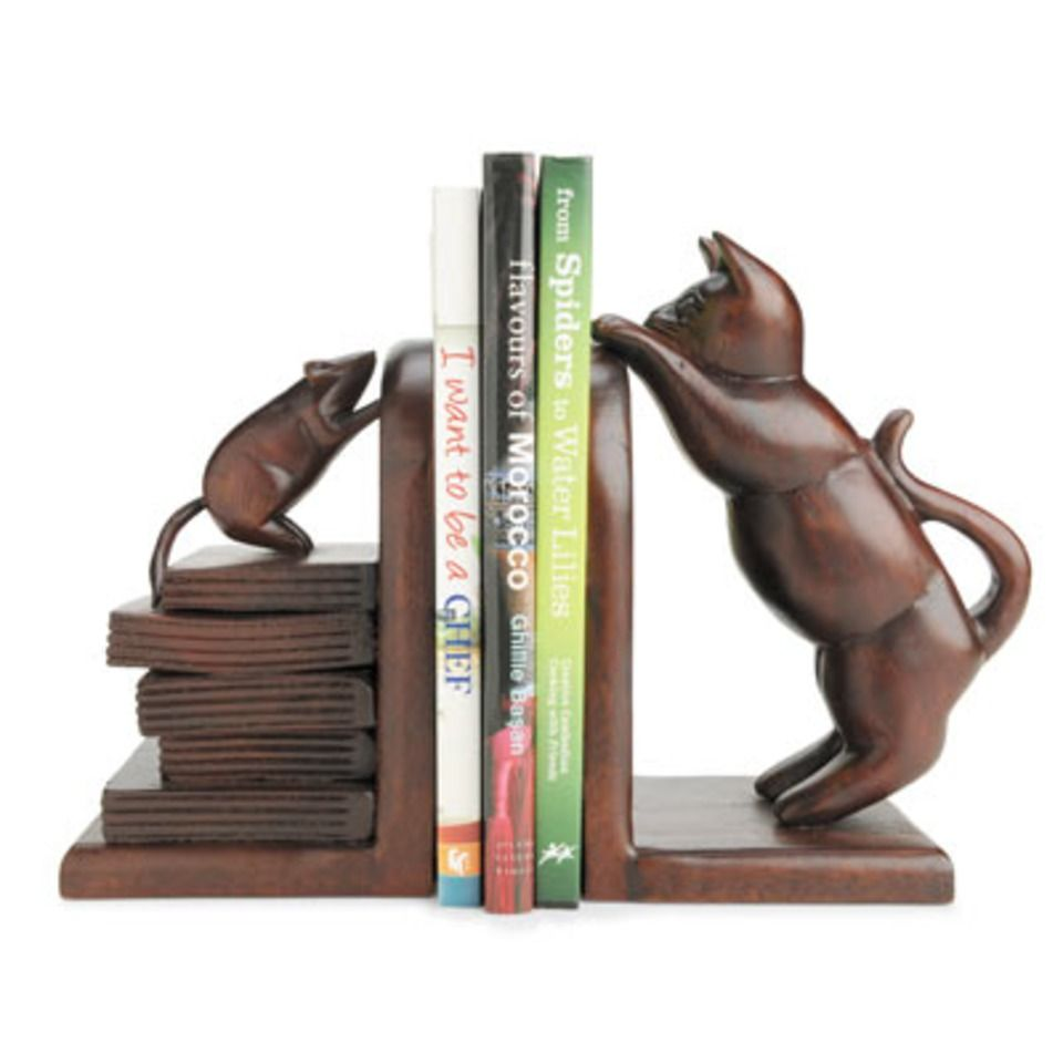 Hand Crafted Cat And Mouse Bookends Monkey Pod Wood Bookends Book Accessories