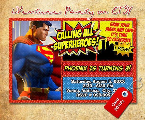 Superman birthday invitation for Superman Superhero birthday – Superman Birthday Invitations