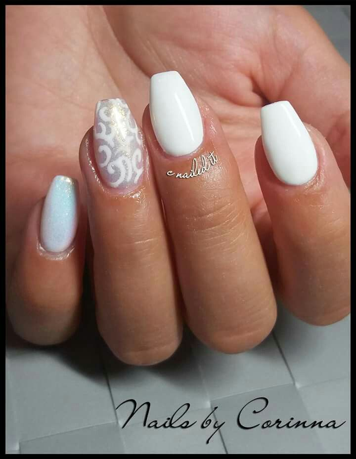 white #mermaideffect #mermaid #nailart #lace #ballerina #nailshape ...