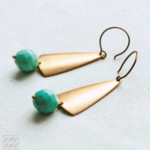 Art Deco Earrings with turquoise glass beads   $16.00 #jewelry #earrings #pendientes #vintage #turquoise #glass #emeeme