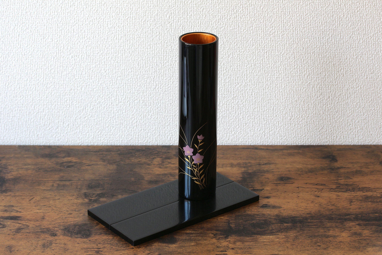 Elegant Black Japanese Flower Vase With Stand Cylindrical Vase