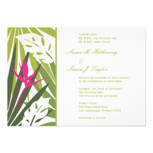 Tropical Wedding Invitation - Green and Pink in each seller \ make - best of invitation cards for wedding price