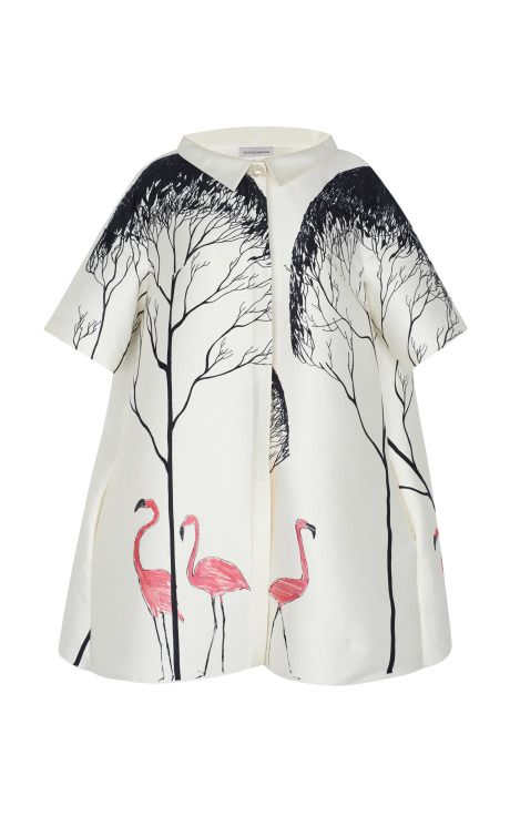 Shop Blouson Dress With Flamingo Tree Pattern by Vika Gazinskaya for Preorder on Moda Operandi