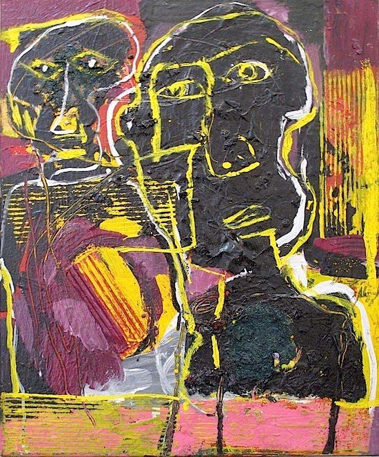 "Skot Foreman Gallery Alejandro  Santiago ""Untitled (Two Portraits)""  2011 Oil, acrylic and collage on canvas    23.5 x 19.5 in  61 x 50 cm Hand-signed and dated ""Alejandro Santiago Ramirez 2011"" verso Certificate of Authenticity from the artist"