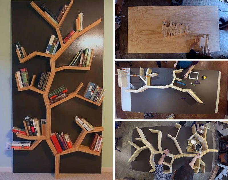 Make Your Very Own Diy Tree Bookshelf Using Plywood Mit Bildern