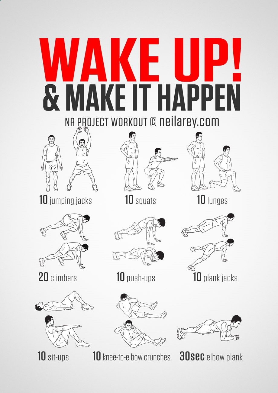 No-equipment body-weight workout for starting your morning on a high. Infamous Wake Up Make it Happen workout. Visual guide: print use.