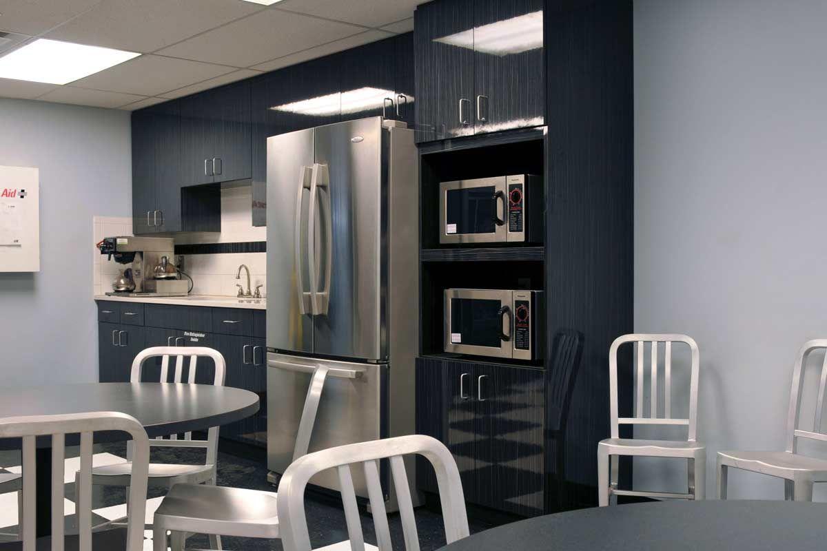 Break Room Design Ideas Part - 47: Break Room With Stainless Steel Fixtures.