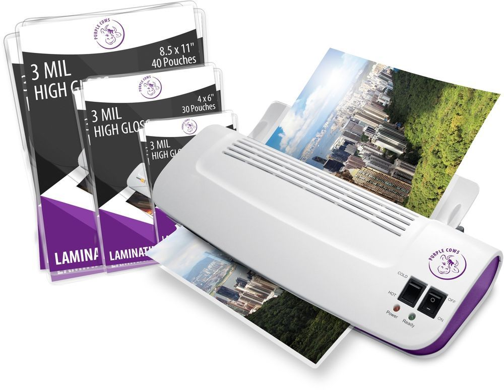 Fast Machine Laminator Hot Cold 9 Plus 100 Pack Laminating Pouches Sheets New Purplecows Custom Purple Cow Pocket Pouch Pouch