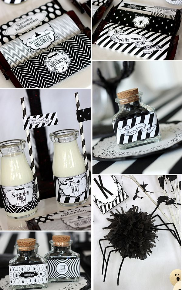 Chic halloween party ideas in contemporary black and white