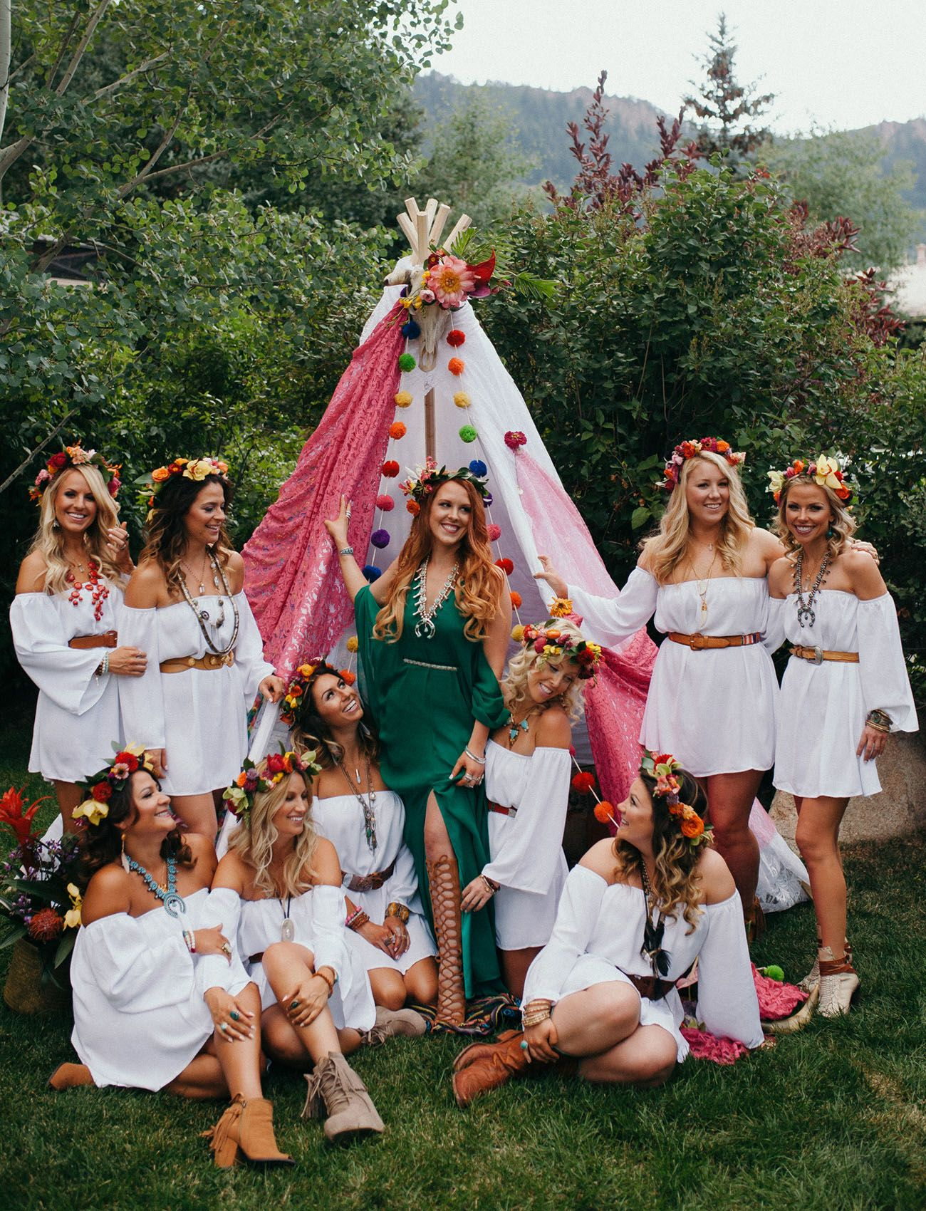 This Bride Threw Her Bridesmaids The Ultimate Boho Party The Day Before The Wedding Green Wedding Shoes Boho Bachelorette Party Boho Bachelorette Party Ideas Boho Bachelorette
