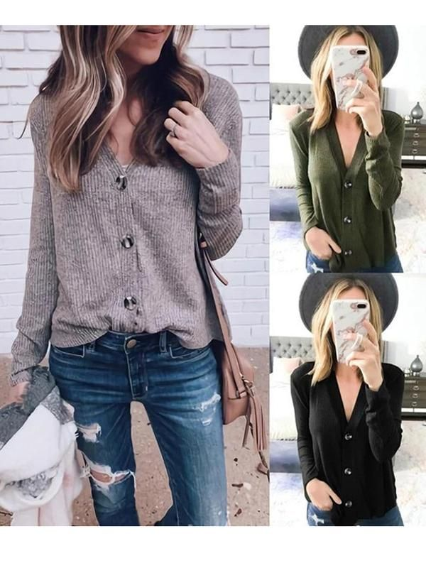 CardiganSweaters for Women,Womens Blouses Autumn Winter Long Sleeve Solid Knitted Sweater T Shirt Blouse Tops