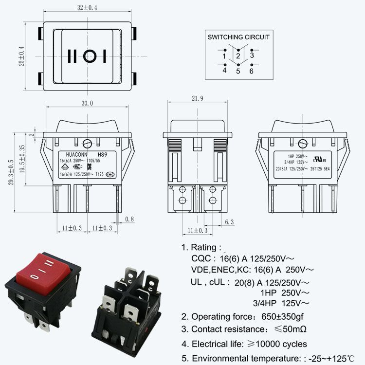 6 Pin Red Rocker Switch Drawing Red Rocker Rocker Electronics Technology