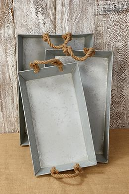 Metal Trays With Rope Handles Set Of 3 Galvanized Tray
