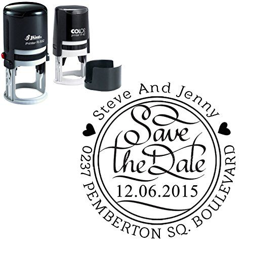 Custom Round Rubber Stamp Save The Date Personalized Invitation Self Ink Stamper Gift Amazon