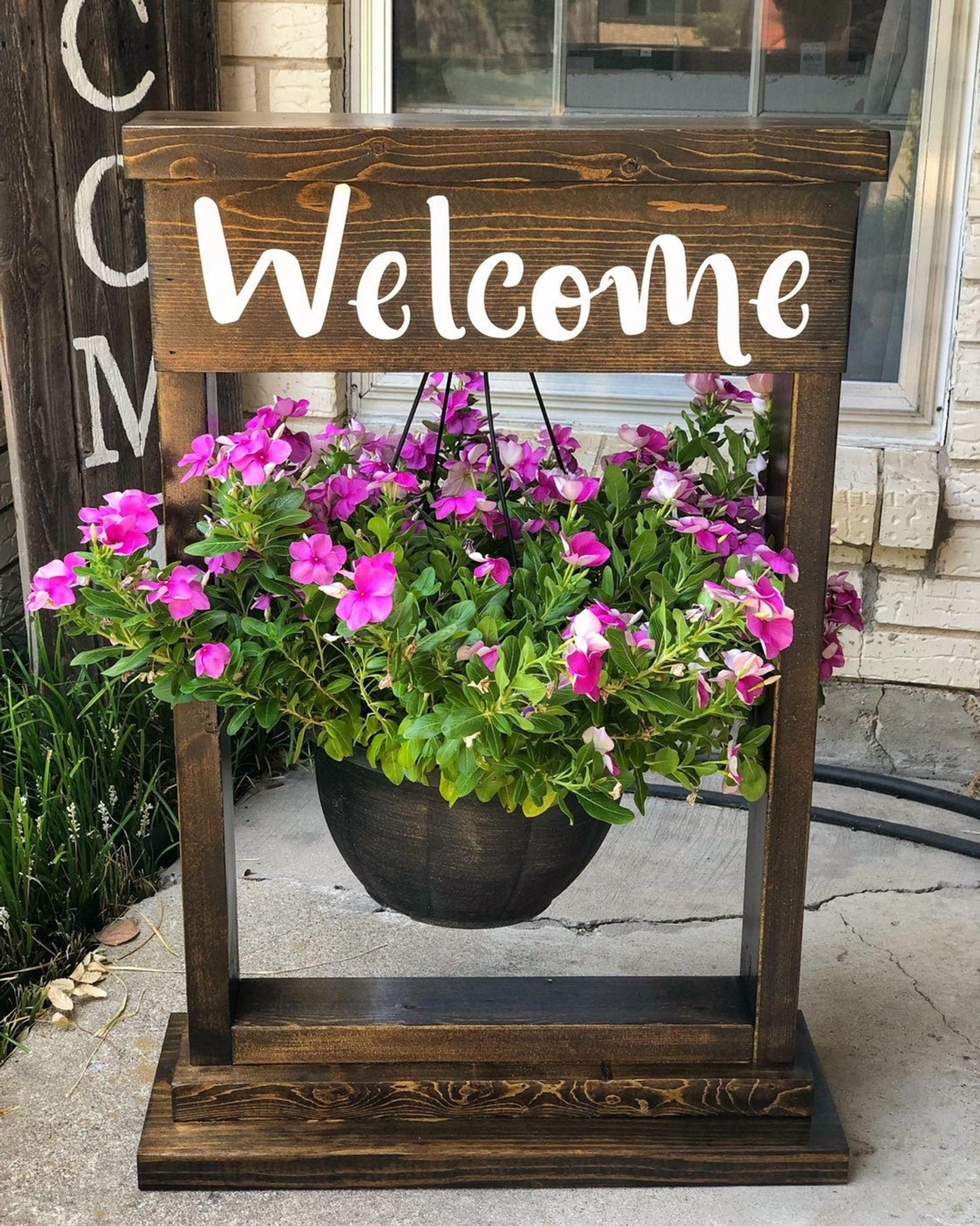 Hanging flower basket stand, Outdoor flower stand,