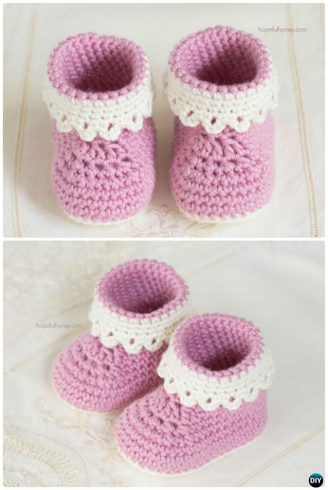 Crochet Ankle High Baby Booties Free Patterns | Patrones libres de ...