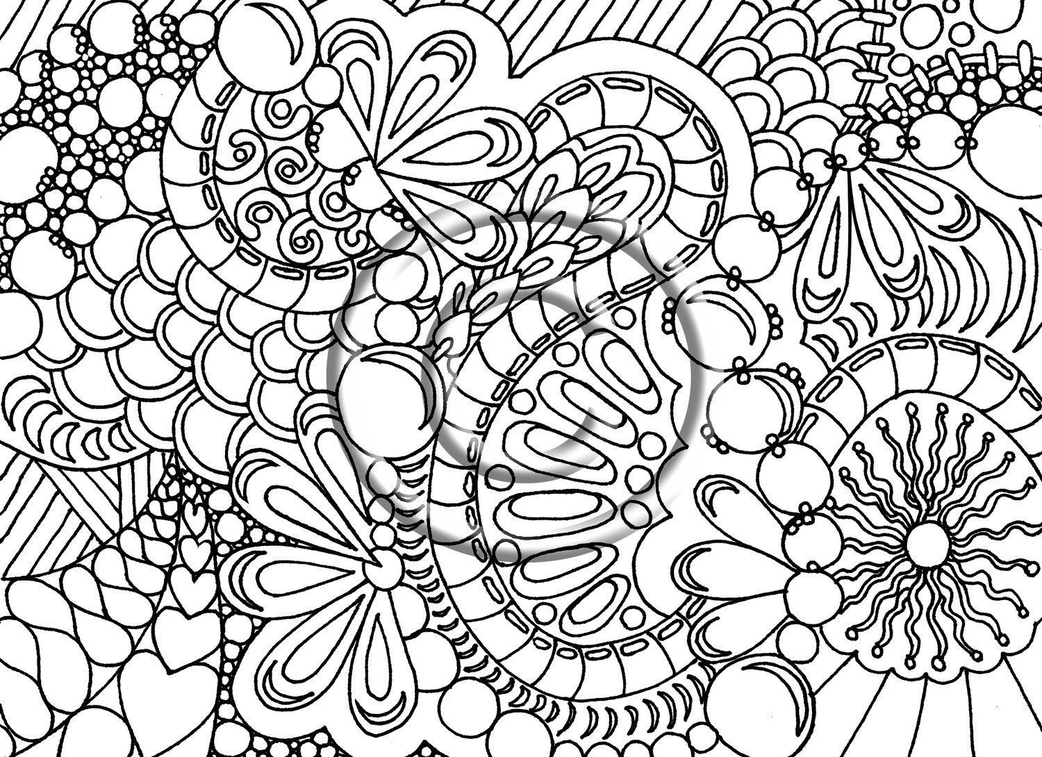 Flower And Heart Free Adult Coloring Pages Printable - Coloring ...