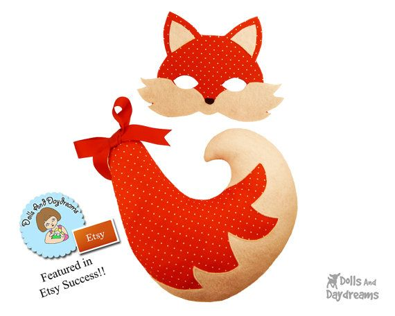 Woodland Fox Mask Tail Costume Sewing Pattern by DollsAndDaydreams