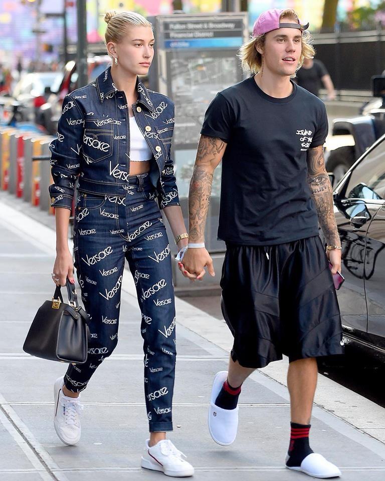 812a1b413693 Hailey Baldwin in a  VersacePreFall18 denim total  VersaceVersaceVersace  look with Justin Bieber in New York City.