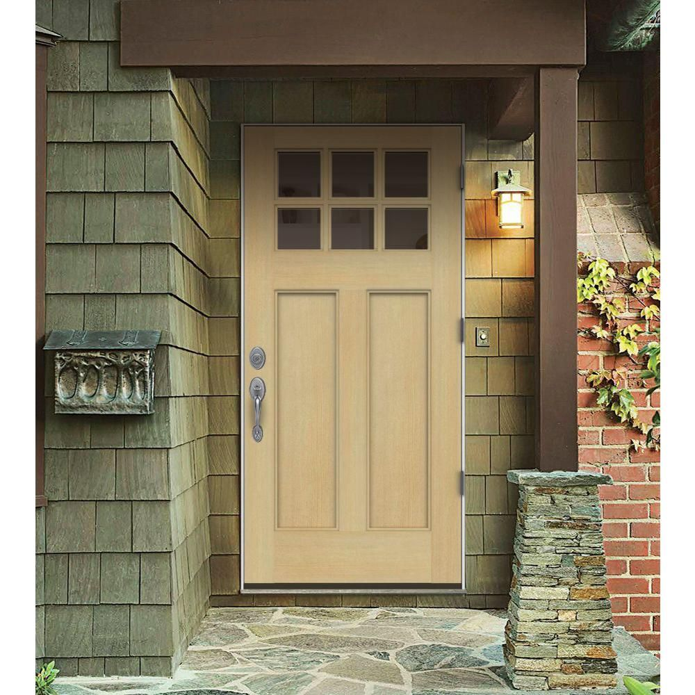 Jeld Wen 36 In X 80 In 6 Lite Craftsman Unfinished Wood Prehung Left Hand Outswing Front Door W Primed Rot Resistant Jamb O04449 The Home Depot Entry Doors Exterior Doors Exterior Door Designs
