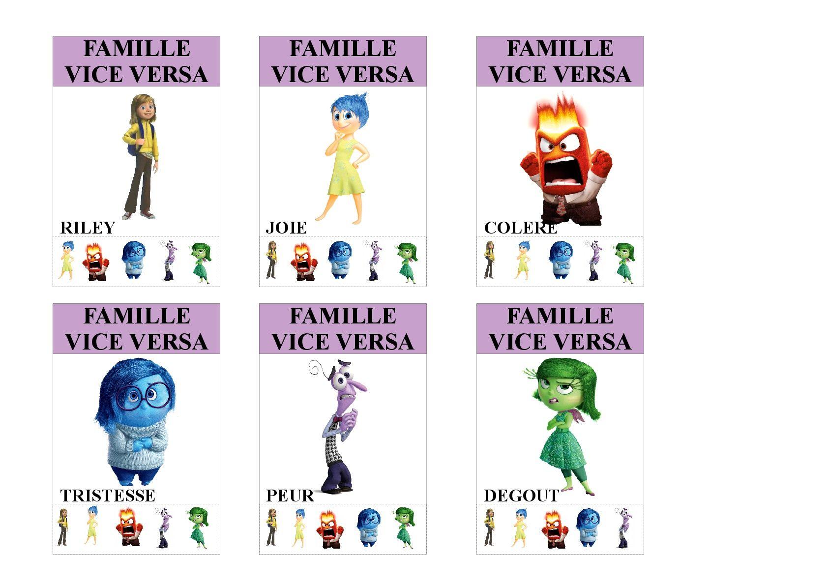 Famille Vice Versa Jeu Des 7 Familles Utilisable Pour Les Plus Jeunes Vu Que Tous Les Membres Des Familles S Jeux Des 7 Familles Famille Disney Jeux A Imprimer