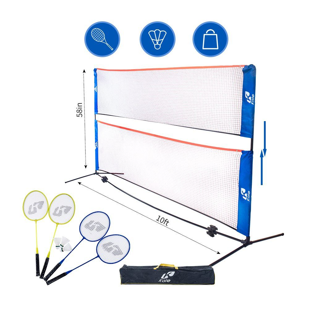 Kale Badminton Set For Adults And Kids With 10 Feet Net Stand Frame 4 Badminton Rackets And 3 Balls Complete Set 1 H Badminton Set Badminton Badminton Racket