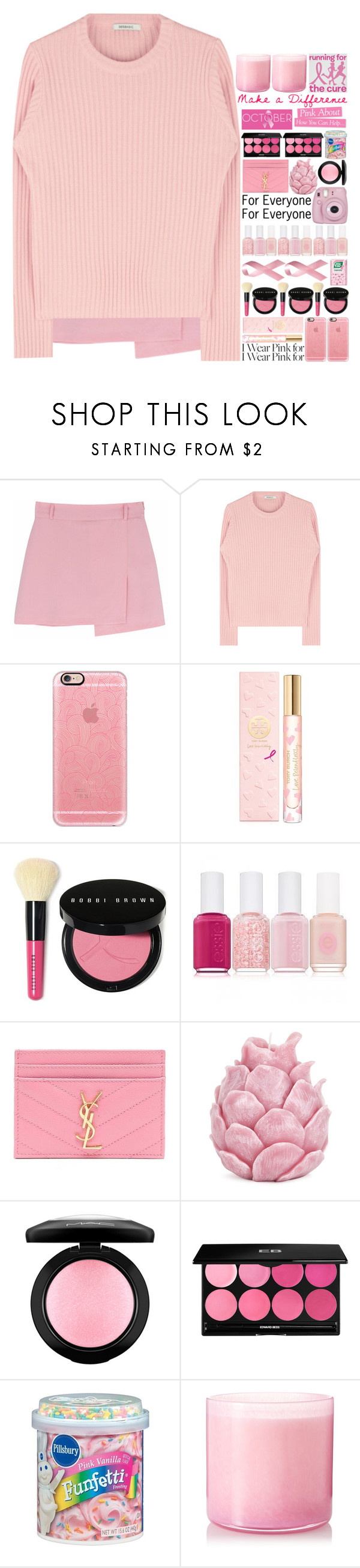 """Who Do You Wear Pink For?"" by tiffanyelinor ❤ liked on Polyvore featuring Casetify, Tory Burch, Bobbi Brown Cosmetics, Essie, Fujifilm, Yves Saint Laurent, Zara Home, MAC Cosmetics, Edward Bess and Pink Vanilla"
