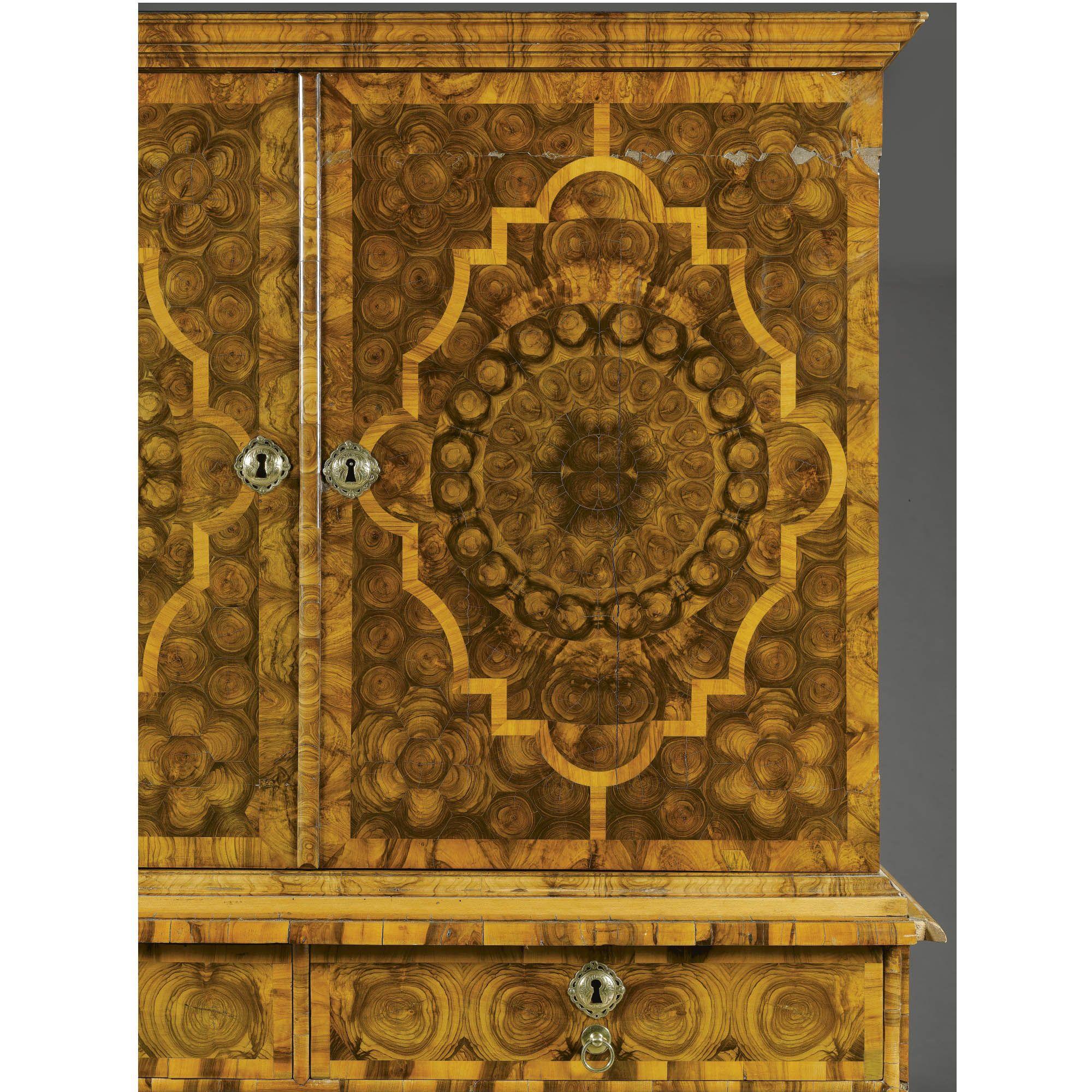 A William And Mary Inlaid Walnut Cabinet On Chestu003cbru003ecirca 1695, Attributed