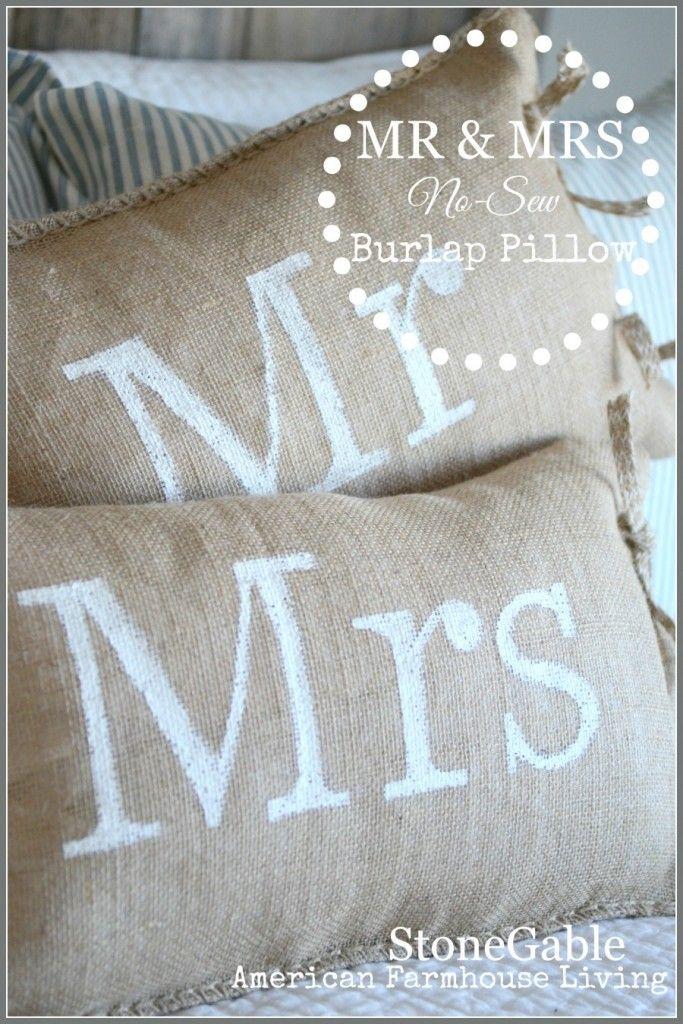 NO SEW MR AND MRS BURLAP PILLOWS & NO SEW MR AND MRS BURLAP PILLOWS | Burlap pillows Burlap and Pillows pillowsntoast.com